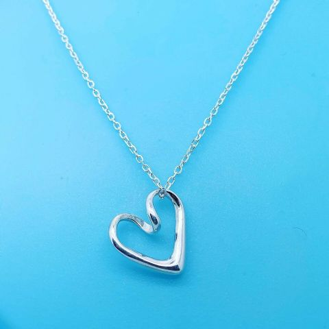 Genuine 925 Sterling Silver Pendant Twist Tif Style Thread Through Heart Pendant